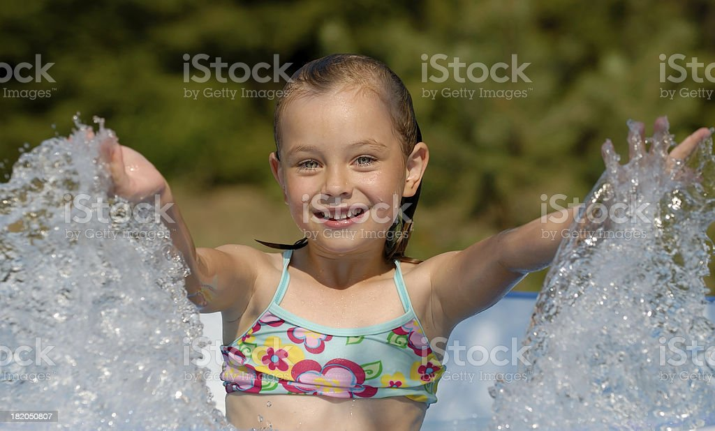 Girl at swimming-pool royalty-free stock photo