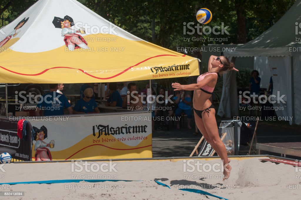 girl at  the beach volley in the city during the summer vacation stock photo