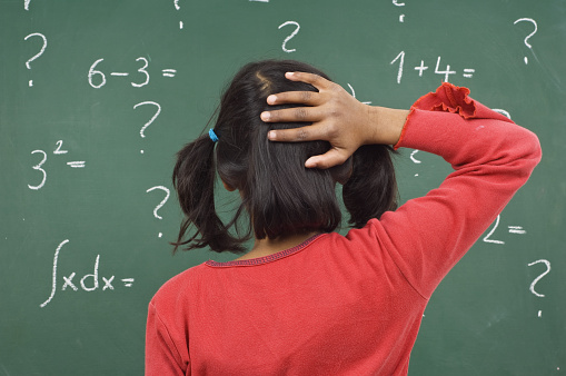 Girl At The Blackboard Stock Photo - Download Image Now