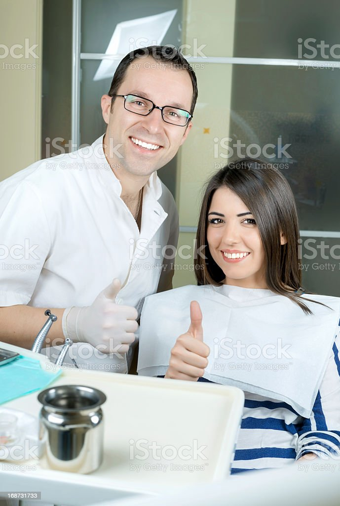 girl at the dentist stock photo