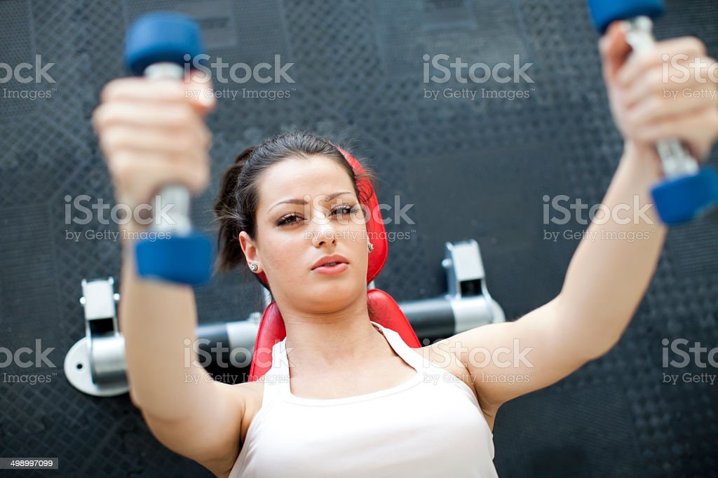 Girl at the gym stock photo