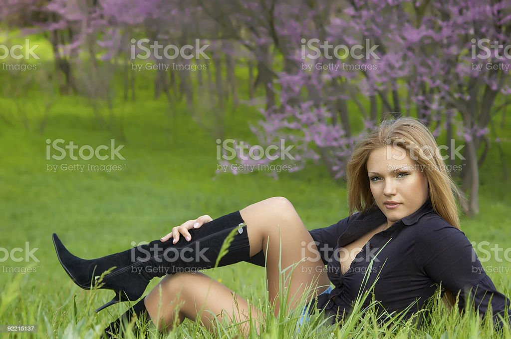 girl at the meadow royalty-free stock photo