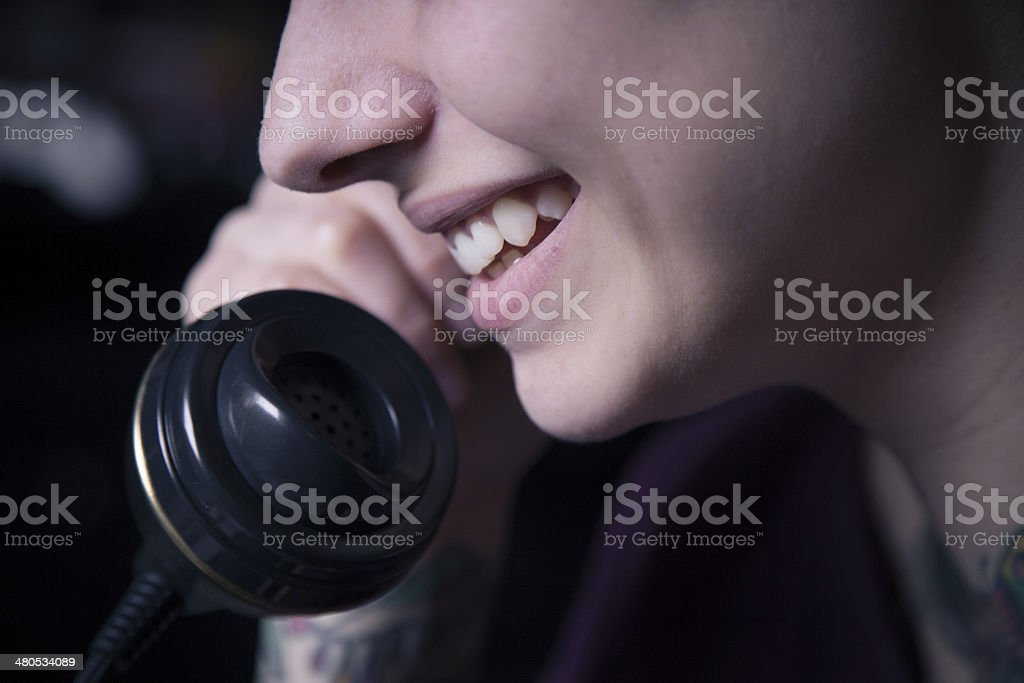 Girl at the phone stock photo