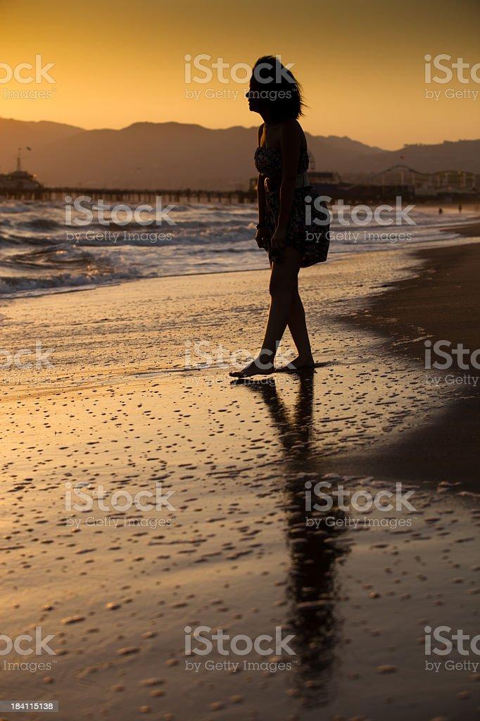 Girl at the Santa Monica Beach royalty-free stock photo