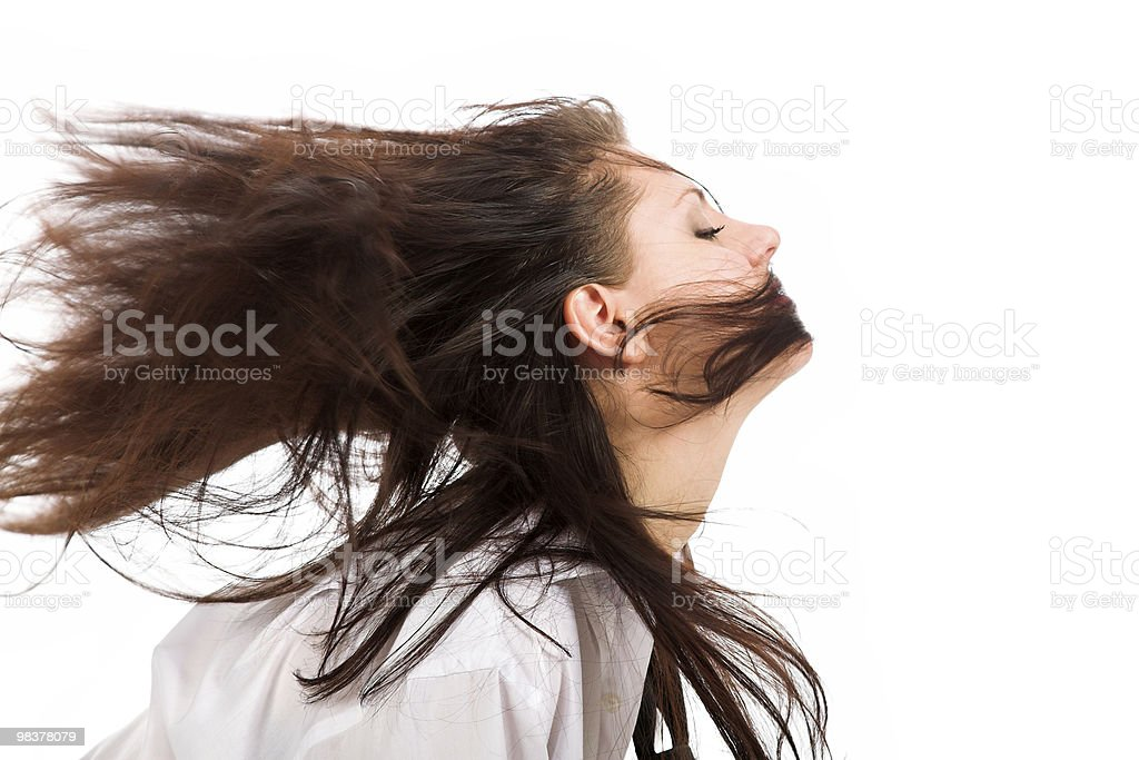 Girl at wind isolated on white royalty-free stock photo
