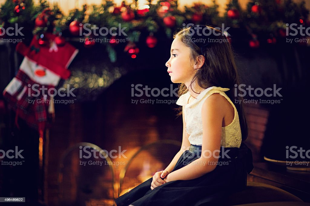 Girl at Xmas stock photo