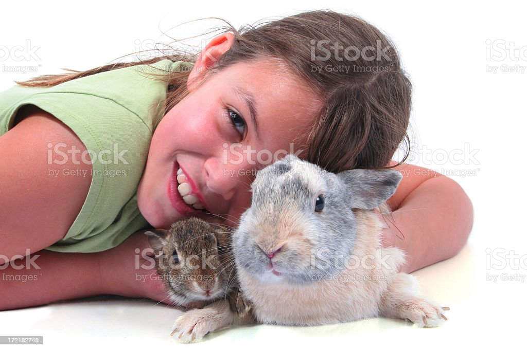 Girl baby hare and rabbit royalty-free stock photo