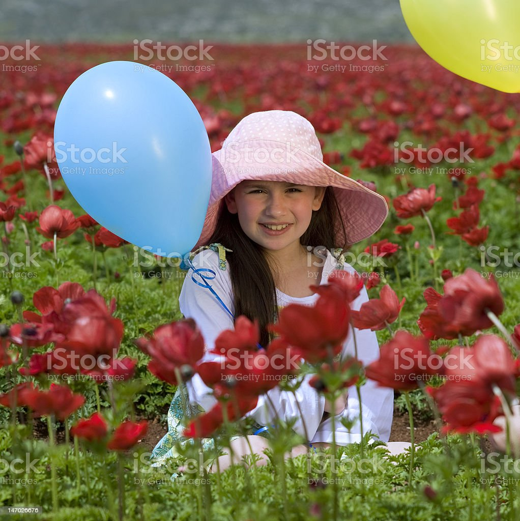 girl baloon red flowers royalty-free stock photo