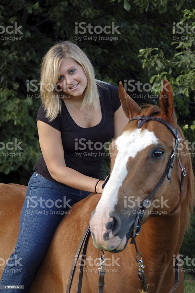 Girl Bareback Riding Portrait stock photo