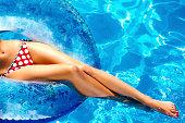 Girl bathes in pool
