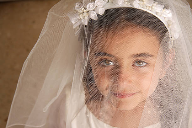 girl behind veil - communion stock pictures, royalty-free photos & images