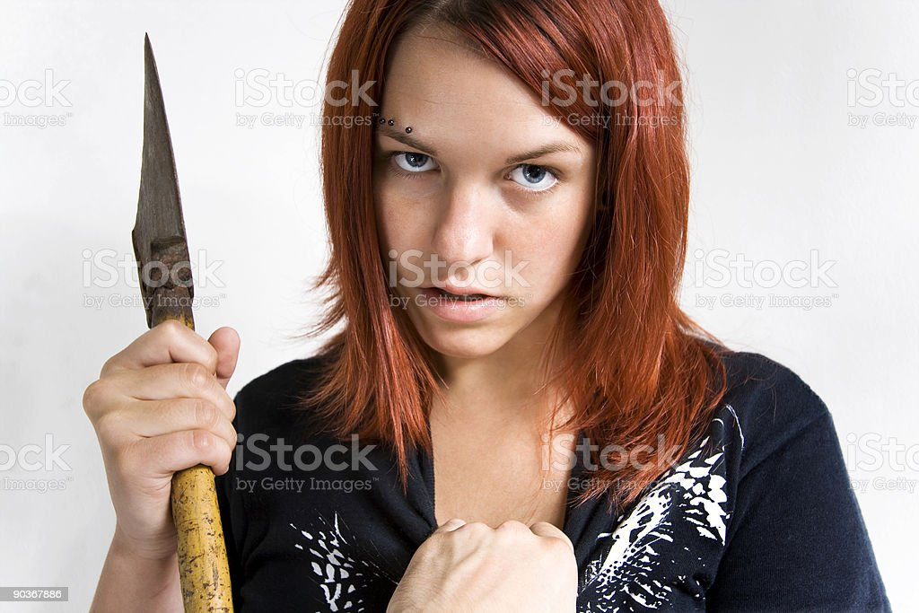 Girl being stoped while murdering. stock photo
