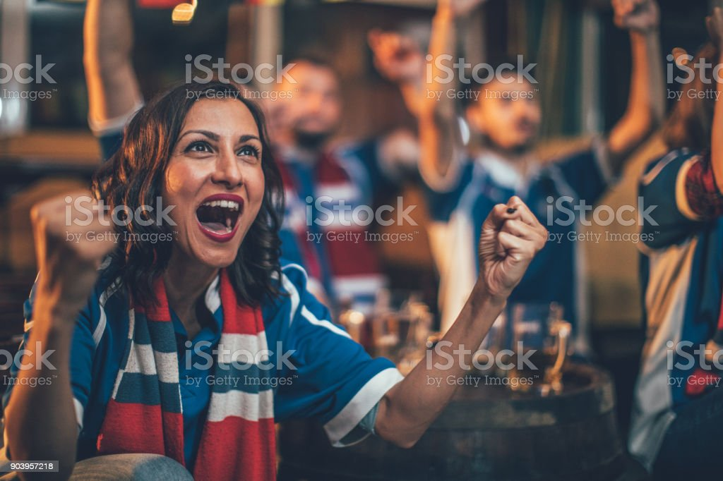 Girl big sports fan stock photo