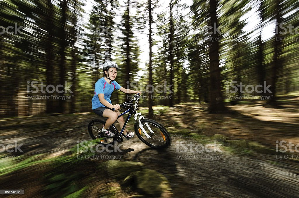 Girl biking royalty-free stock photo