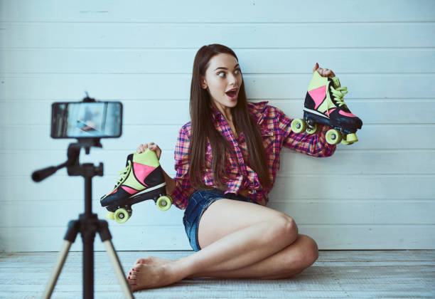 Girl Blogger stock photo