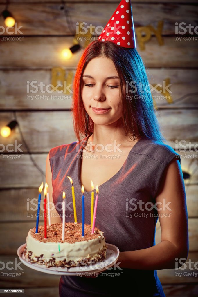 Girl Blonde In A Cap With Birthday Cake In His Hands Stock Photo