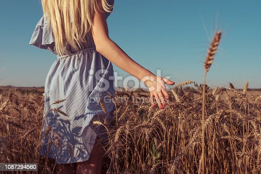 istock Girl blonde in summer dress. Summer bright sunny day wheat field. The hand goes into the distance touching the wheat germ. Concept of pure and untouched nature 1087294560