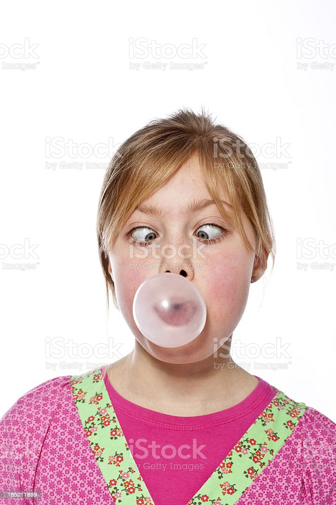 Girl blowing bubble gum royalty-free stock photo