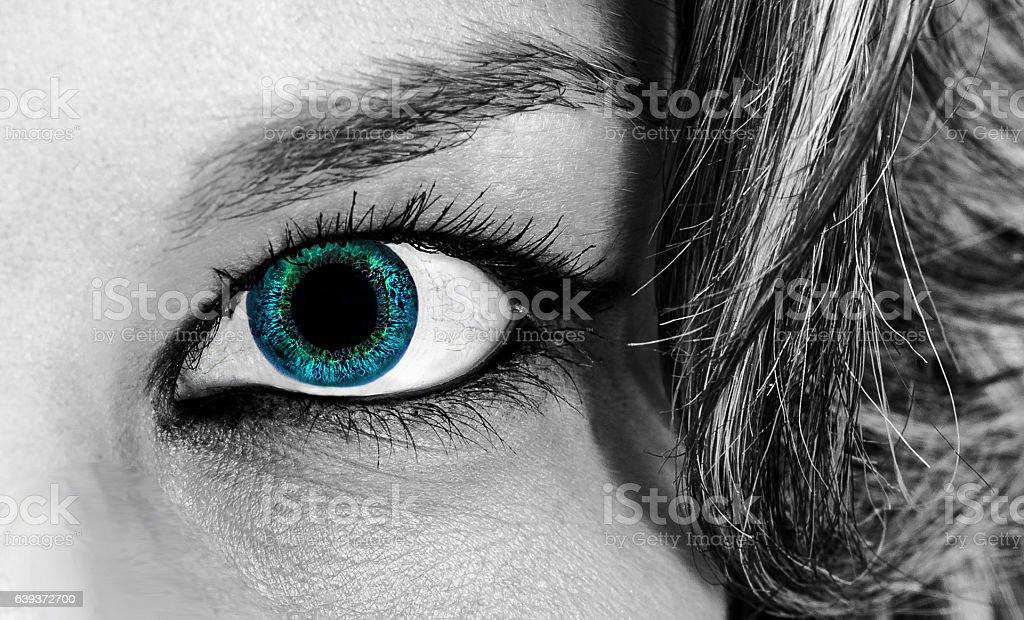 girl blue eye monochrome - foto de stock