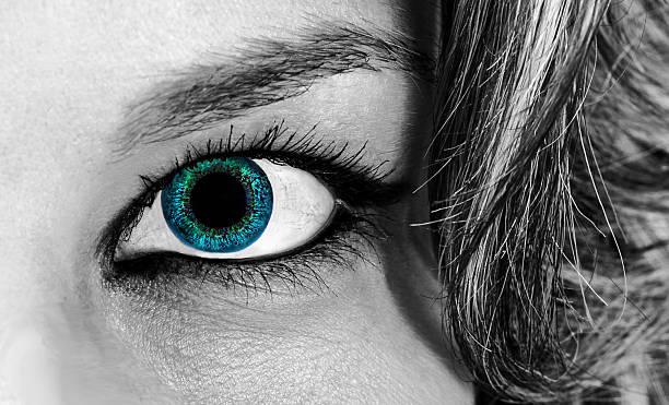 girl blue eye monochrome stock photo