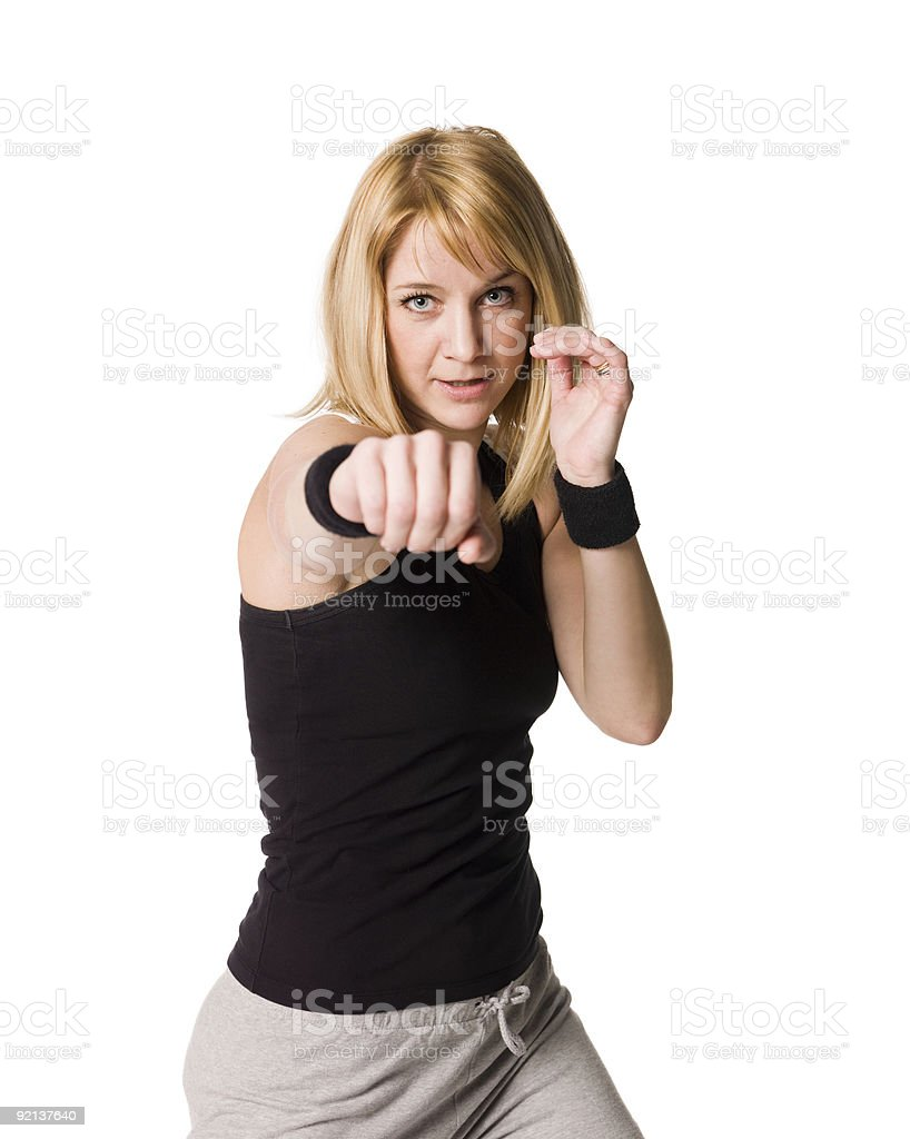 Girl boxing royalty-free stock photo