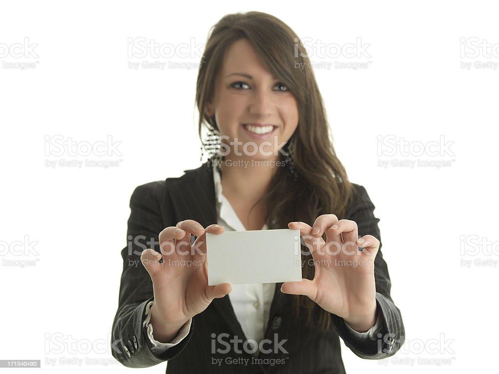 Girl business card stock photo