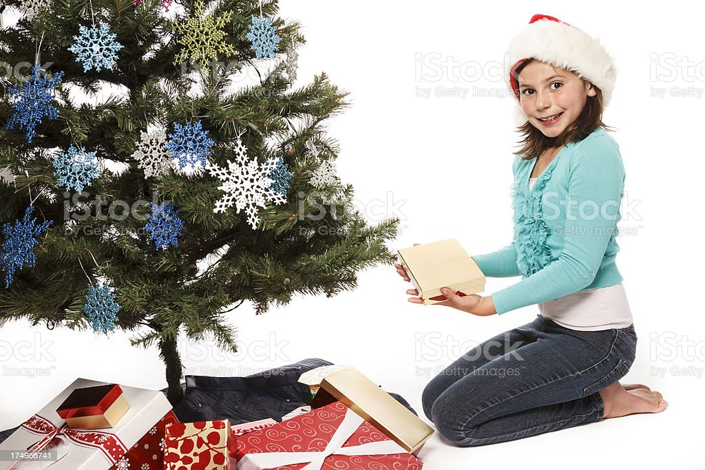 Girl By A Christmas Tree royalty-free stock photo