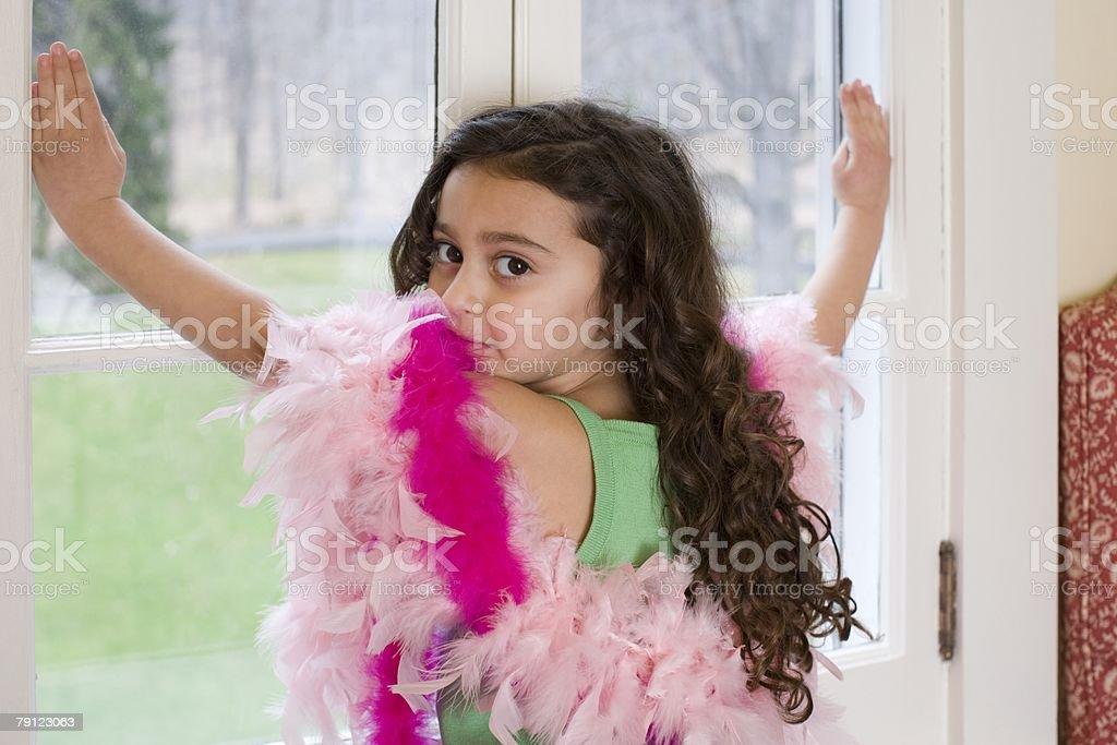 여자아이 window royalty-free 스톡 사진