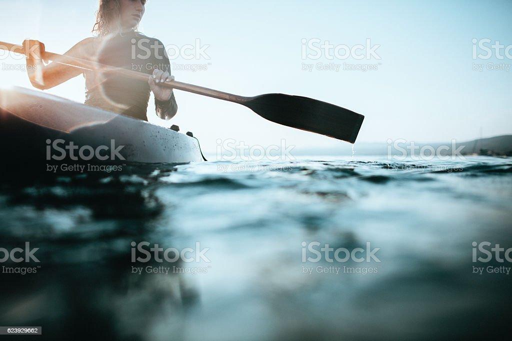 Girl canoeist stock photo