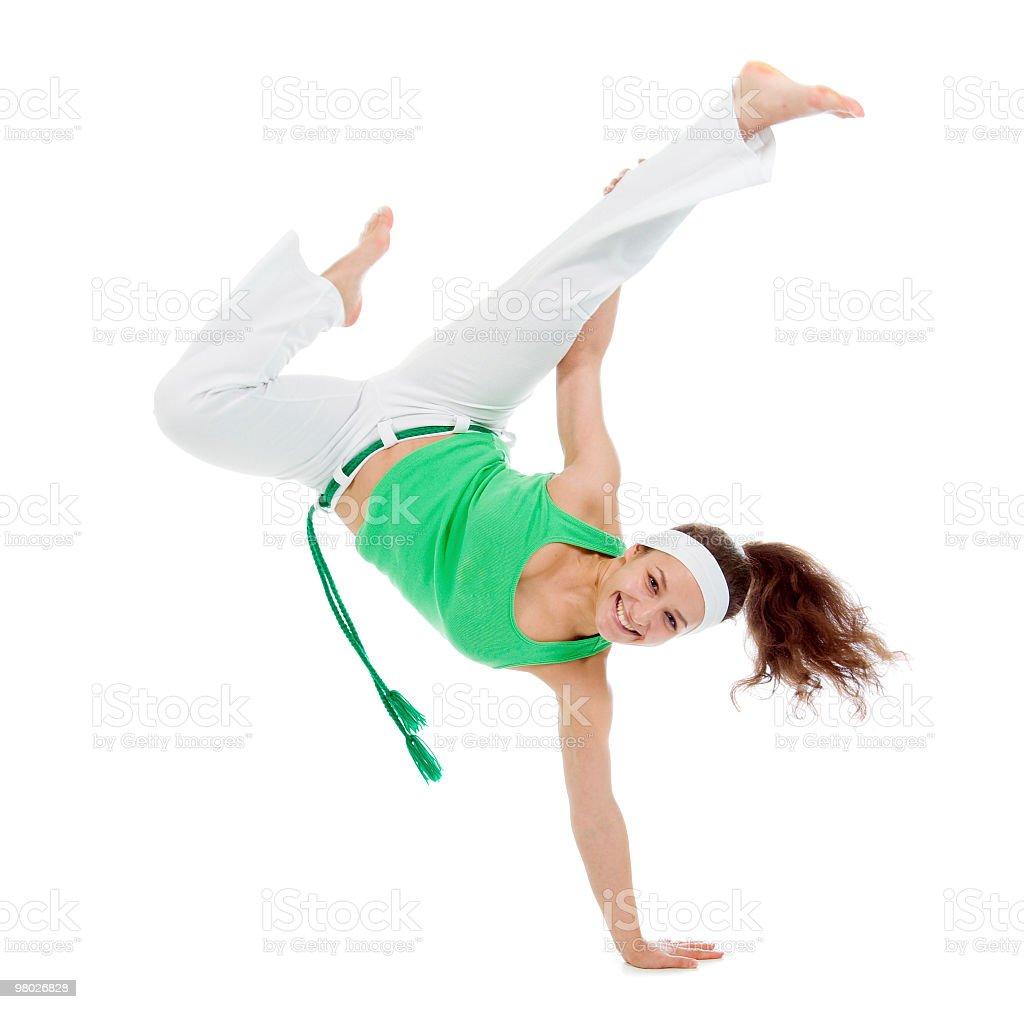 여자아이 카포에이라 댄서 제시하기 royalty-free 스톡 사진