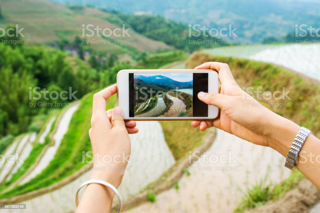 Girl capturing rice terrace scenery with a phone stock photo