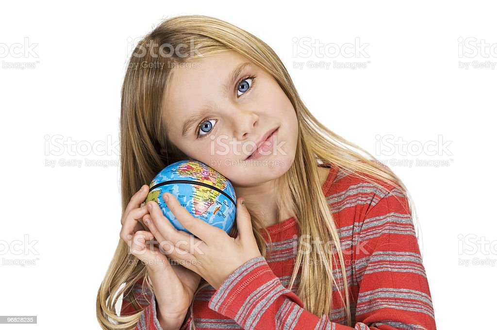 girl care about the world royalty-free stock photo
