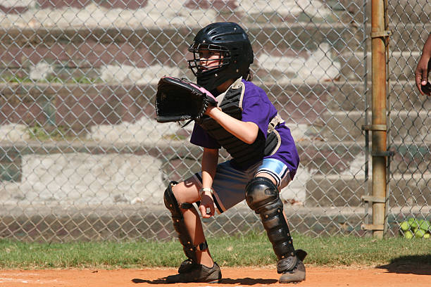 girl catcher - softball stock photos and pictures