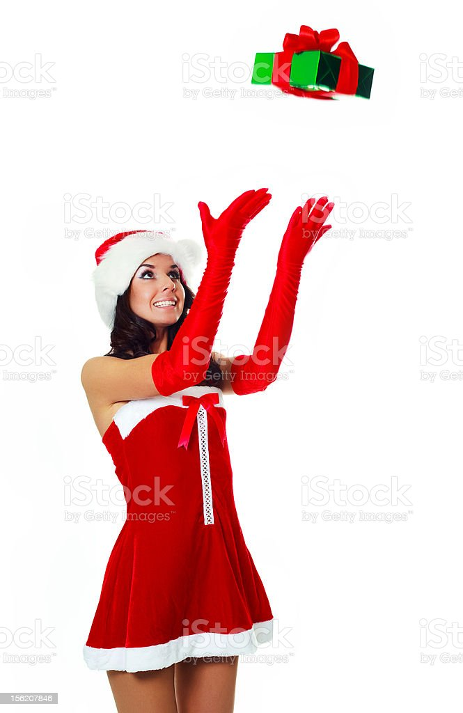 girl catching a present royalty-free stock photo