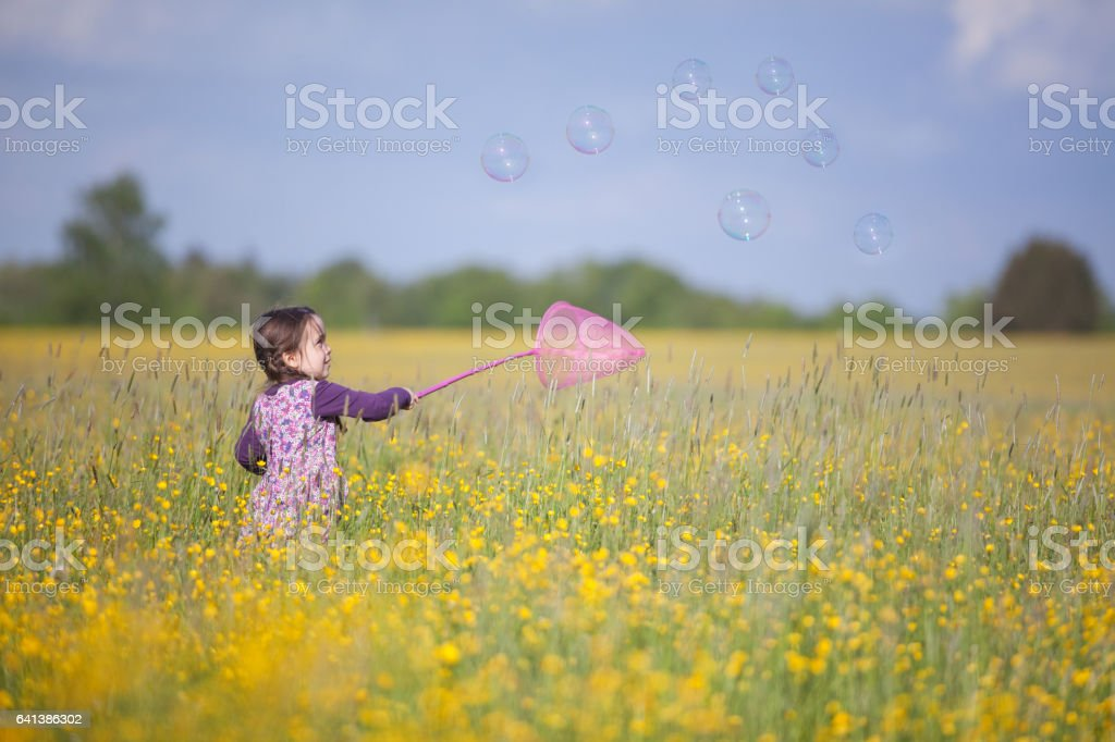 Girl chasing a butterfly stock photo