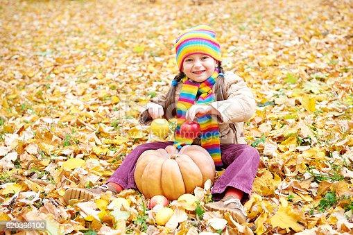 Girl Child In Autumn Forest Sit On Leaves - Stockowe zdjęcia i więcej obrazów Chustka na głowę