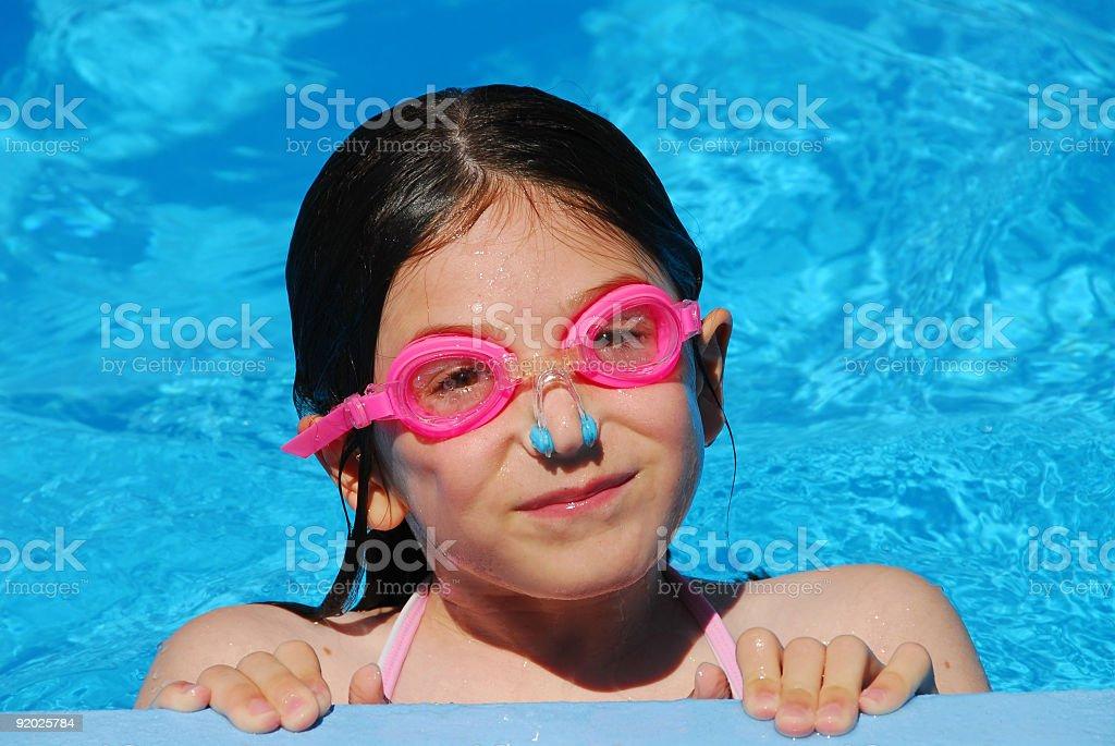 Girl child pool royalty-free stock photo