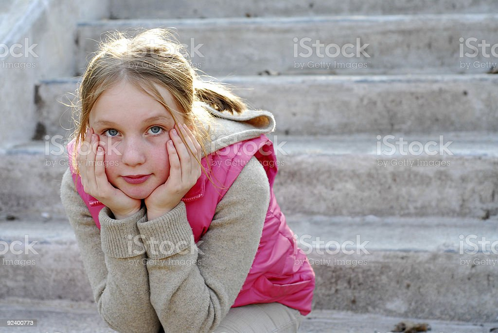 Girl child thinking royalty-free stock photo