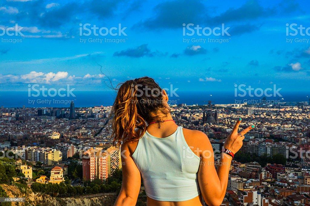 Girl 'chilling' in Barcelona stock photo
