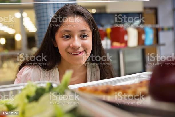 Girl choosing healthy or unhealthy food in school lunch line picture id174995152?b=1&k=6&m=174995152&s=612x612&h=k dd8nchrecjvcboluniwlsjat4s0wp0mc2u3j5nnku=