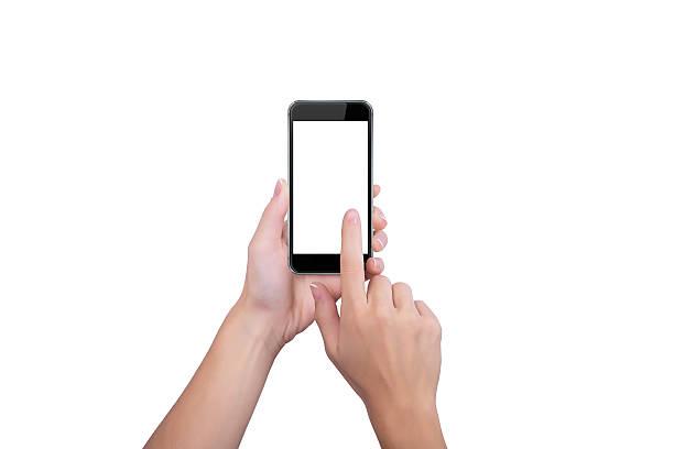 Mädchen klickt auf den Bildschirm – Foto