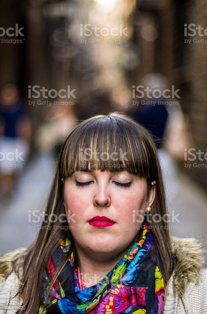 girl closed eyes barri barrio del born borne stock photo