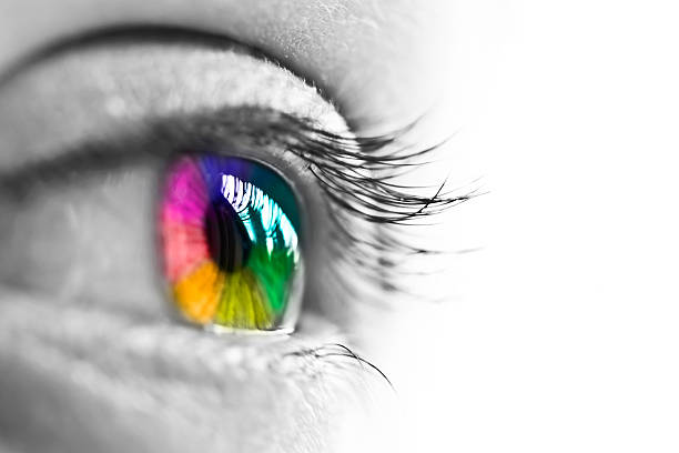 girl colorful and natural rainbow eye on white background - kleurenfoto stockfoto's en -beelden