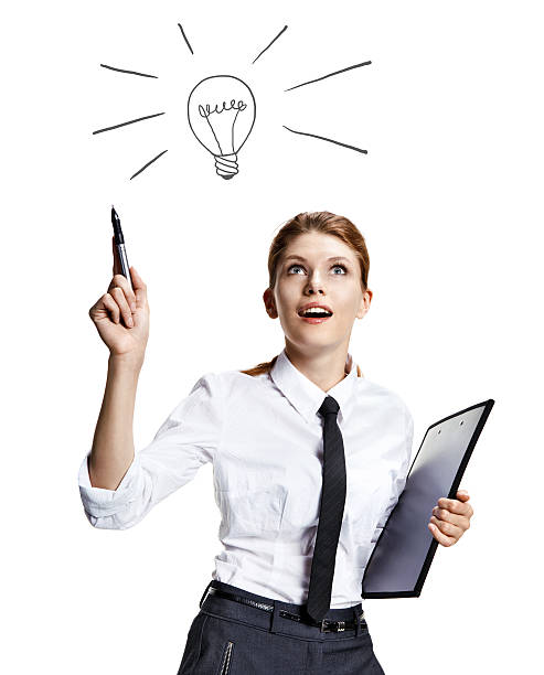 Girl coming up with a light bulb idea sign attractive woman wearing a white shirt with a tie and a folder in her hand like the idea - isolated on white background deem stock pictures, royalty-free photos & images
