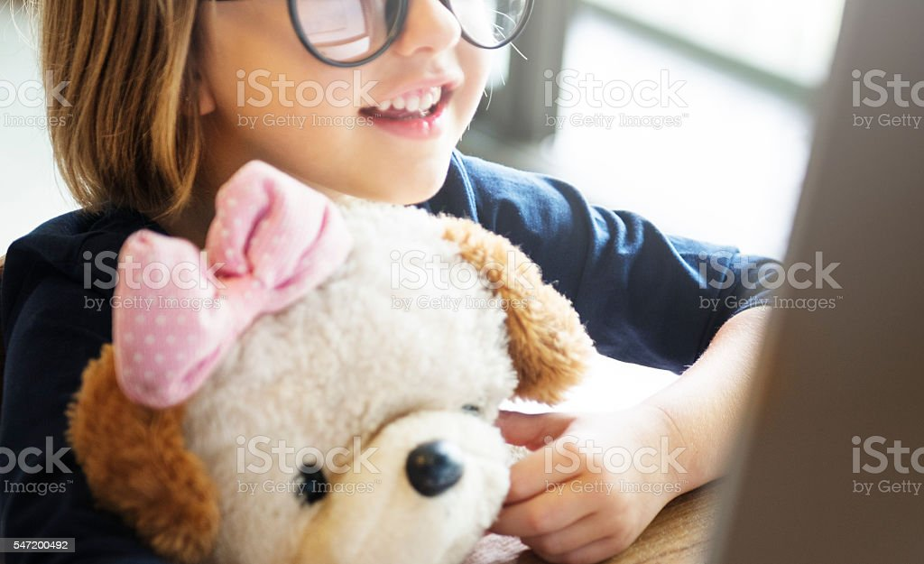 Girl Computer Technology Networking Connection Online Concept Girl Computer Technology Networking Connection Online Concept Activity Stock Photo