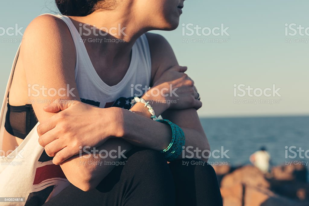 Girl covered with goosebumps from cold stock photo
