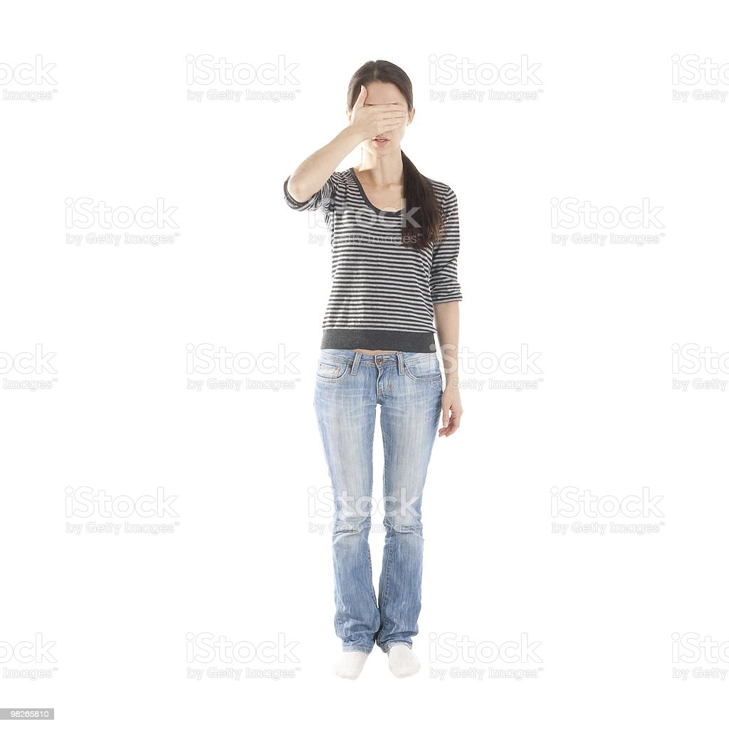 girl covering her eyes royalty-free stock photo