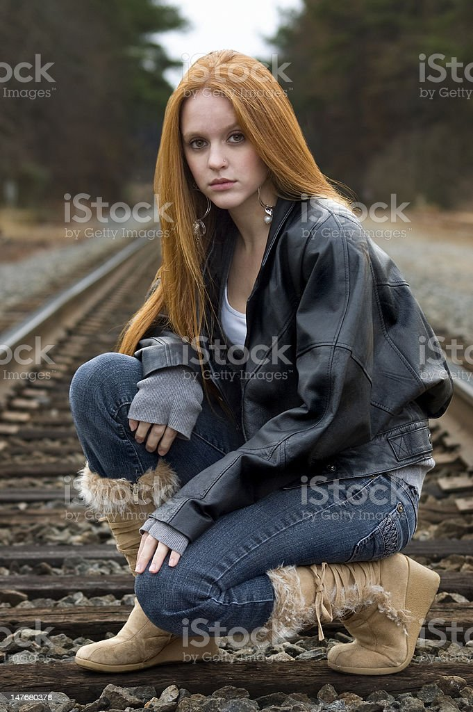Crouching girl stock photo. Image of look, provocative
