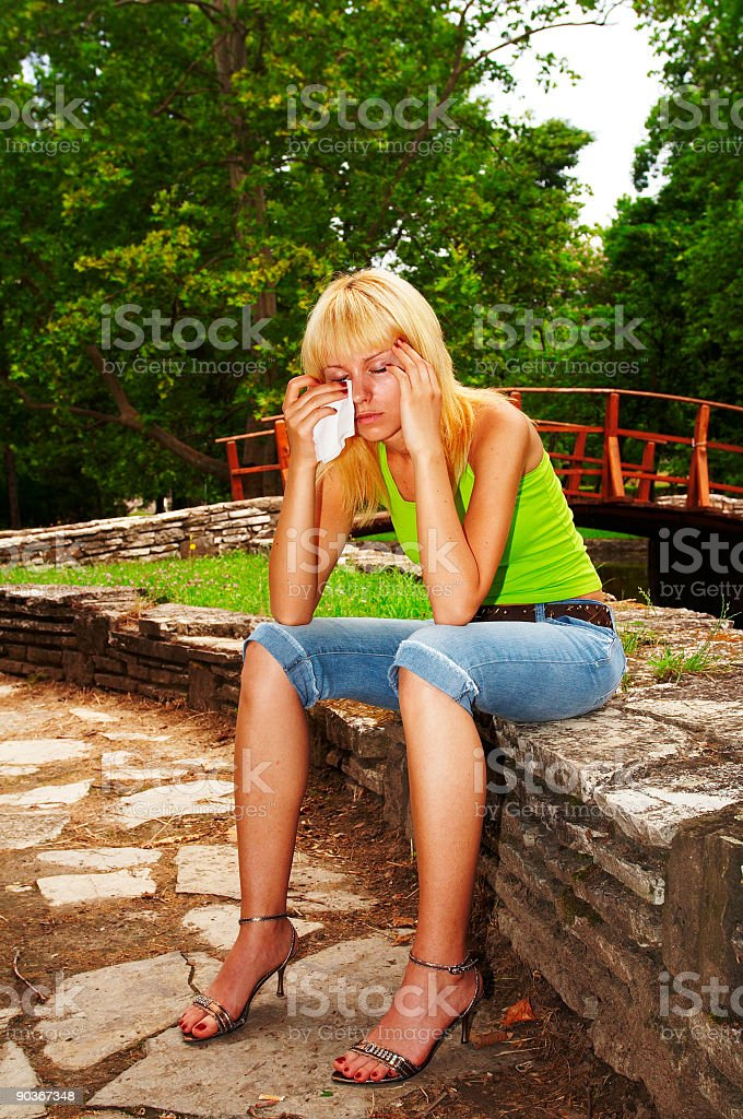 Girl crying royalty-free stock photo