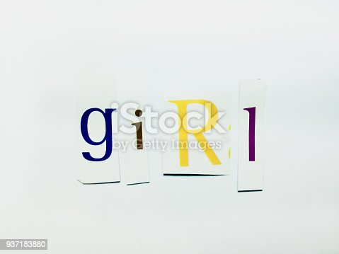 474062446istockphoto Girl - Cutout Words Collage Of Mixed Magazine Letters with White Background 937183880